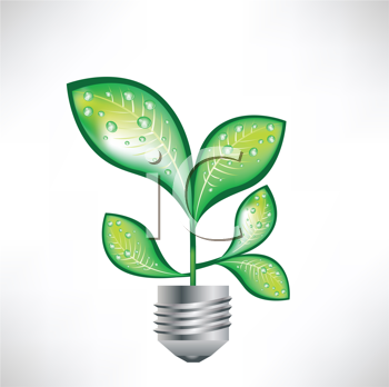 Royalty Free Clipart Image of a Leaf in a Light Bulb Base