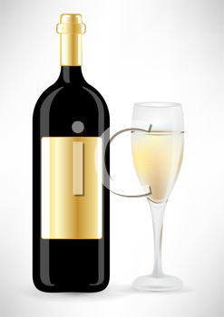 Royalty Free Clipart Image of a Wine Bottle and Glass