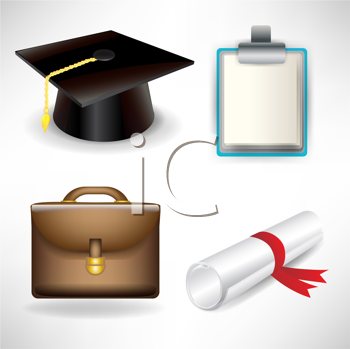 graduation and job icons isolated