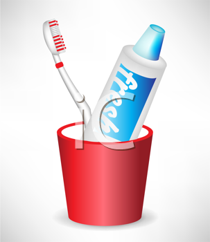 toothbrush and toothpaste in container