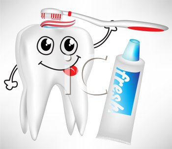 tooth brushing itself with toothpaste