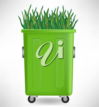 plastic green trash container with rowing grass