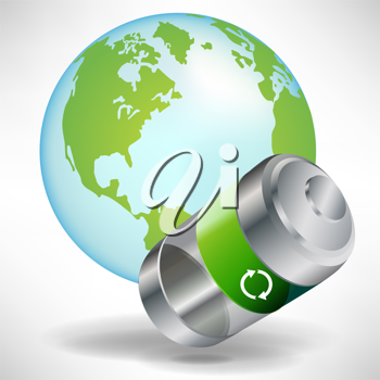 green battery with earth globe isolated on white background