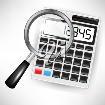 single calculator and magnifying glass