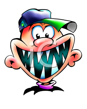 Royalty Free Clipart Image of a Boy With Big Sharp Teeth