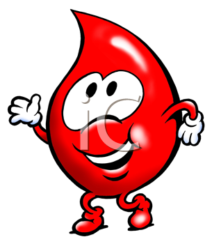 Royalty Free Clipart Image of a Red Blood Drop