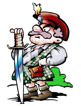 Royalty Free Clipart Image of a Scottish Warrior