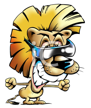 Royalty Free Clipart Image of a Lion Wearing Dark Sunglasses