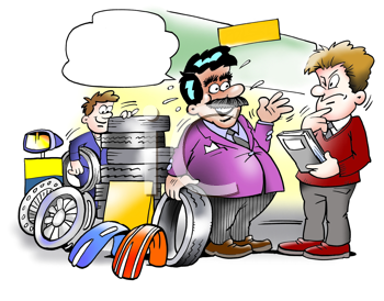 Royalty Free Clipart Image of a Tire Salesman