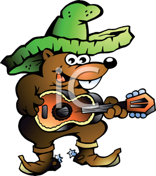 Hand-drawn Vector illustration of an Mexican Wallaby Playing Guitar