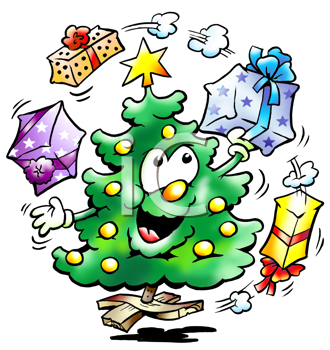 Christmas tree juggles with gifts