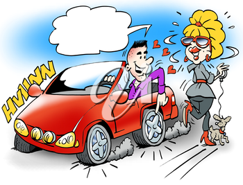 Cartoon illustration of a smart guy in his sports car showing the young lady the brand new wheels on the car