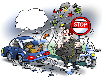 Cartoon illustration of a thief driving over party seams with new hard tires