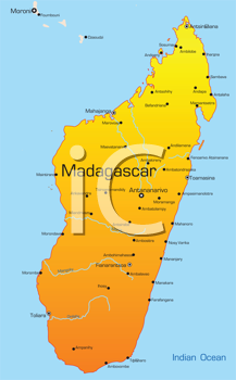 Royalty Free Clipart Image of a Map of Madagascar