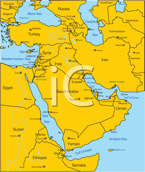 Royalty Free Clipart Image of a Map of the Middle East