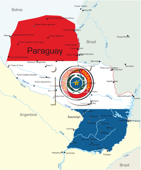 Royalty Free Clipart Image of a Map of Paraguay With the Flag Painted on It