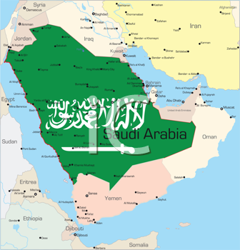 Royalty Free Clipart Image of a Map of Saudi Arabi Coloured in the Flag
