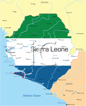 Royalty Free Clipart Image of a Map of Sierra Leone