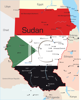 Royalty Free Clipart Image of a Map of Sudan With the Flag on It