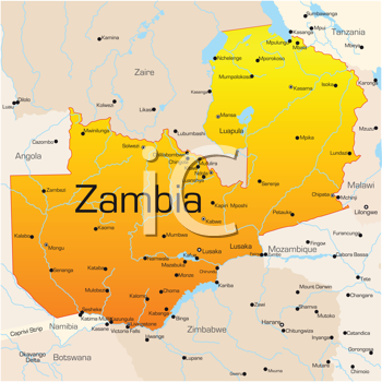 Royalty Free Clipart Image of a Map of Zambia
