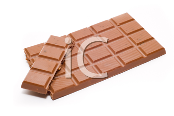 Bar of chocolate on white background