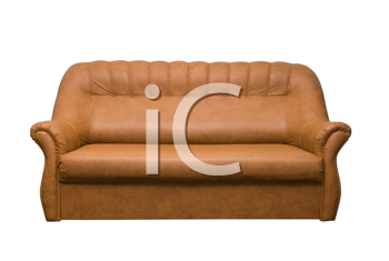 Brown leather sofa isolated on a white background