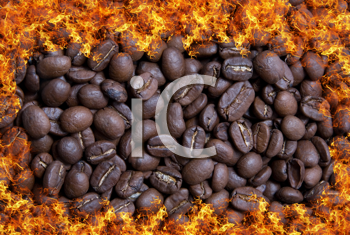 Royalty Free Photo of Coffee Beans in Fire