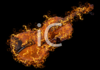 Royalty Free Photo of a Violin on Fire
