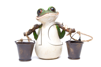 Statuette of frog with buckets on white