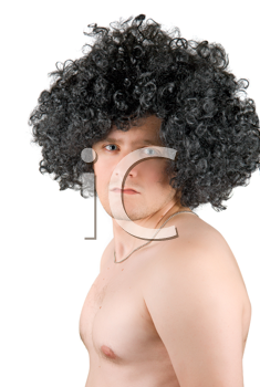 Royalty Free Photo of a Man Wearing a Wig