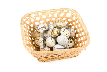 Royalty Free Photo of Quail Eggs in a Basket