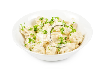 meat dumplings with greens on a white
