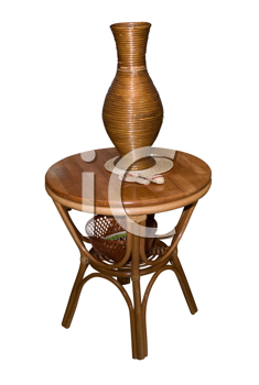 Royalty Free Photo of a Wooden Table With a Vase