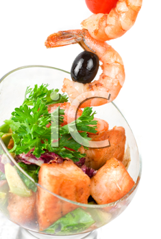 Royalty Free Photo of Fried Kebab of Shrimp With Vegetables