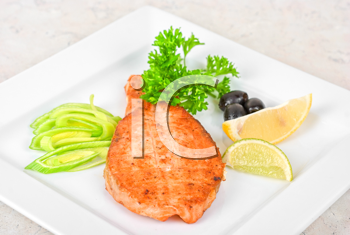 Royalty Free Photo of Grilled Salmon Steak With Veggies