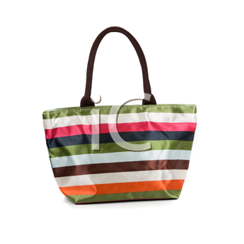 Striped beach women bag isolated on white background