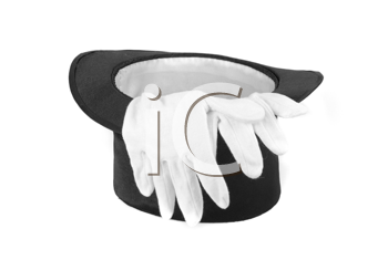 Black magic hat and white gloves isolated on a white background