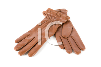 brown modern female leather gloves isolated on a white
