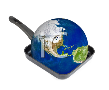 Global warming concept. Earth at the frying pan isolated on white