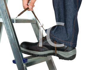 Royalty Free Photo of a Repairman Tying His Shoes on a Ladder
