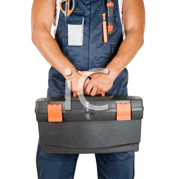 Royalty Free Photo of a Repairman Holding a Toolkit