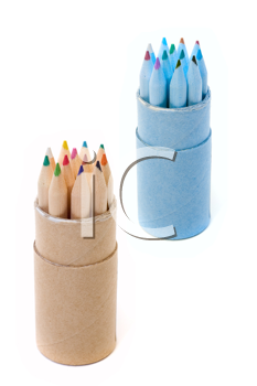 Rows of varicoloured wooden pencils