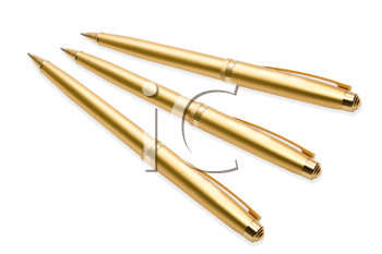 Gold pens on white background
