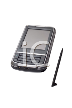 Cell phone, communicator, and gps navigator on white background