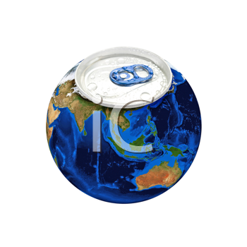 Earth planet as aluminum can isolated on a white