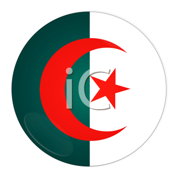 Abstract illustration: button with flag from Algeria country