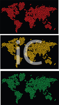 Stylized dotted world map in vector format as traffic light color