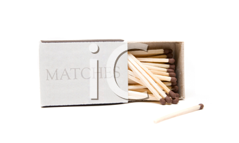 Matches in opened box isolated on white background