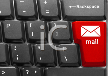 Close-up of Computer keyboard,  with red E-Mail key