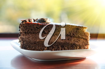 piece of chocolate cake at white plate